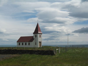 Religion in Iceland - Traditionally-built church at Hellnar, Snæfellsnes