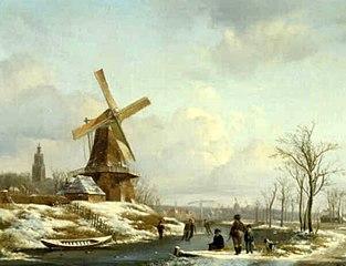 Winterlandschap met molen