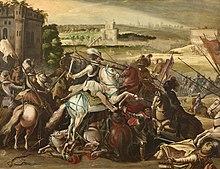 Enrico IV alla battaglia di Arques, scuola francese, XVI secolo