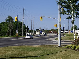 Ontario Highway 21 - Southbound Highway 21 and northbound Highway 6 are concurrent in Owen Sound; this is the only example of a Wrong-way concurrency in the provincial highway network