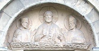 Epiphanius of Pavia - Tympanon depicting Christ, Saint Godehard and Epiphanius, on the St. Godehard Basilica in Hildesheim, Germany.