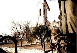 Siege of Mostar - The Catholic church in Potoci near Mostar, destroyed in May 1992