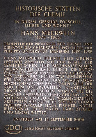 Hans Meerwein - Plaque from the German Chemical Society commemorating Hans Meerwein, located at the University of Marburg
