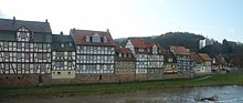 Old houses in Rotenburg, facing the Fulda River