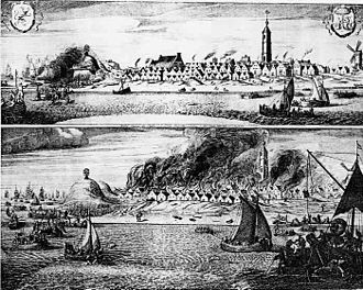 Holmes's Bonfire - Burning of West-Terschelling. The tower on the right is the Brandaris lighthouse
