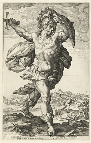 Horatius Cocles - Horatius Cocles, a 1586 engraving by Hendrick Goltzius