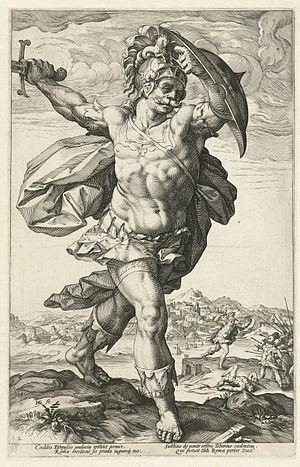 Figura serpentinata - Horatius Cocles, engraving by Hendrick Goltzius – an example of a Figura serpentinata