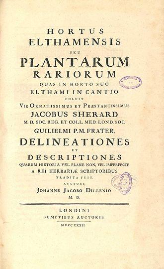 Johann Jacob Dillenius - Title Page, Hortus Elthamensis 1732