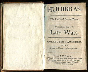 Hudibras - First Collected edition of Hudibras by Samuel Butler, 1674–1678