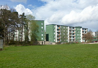Husby, Stockholm - Typical plattenbau building from the 1970s in Husby