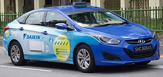 ComfortDelGro - Moove Media advertising on a Comfort Hyundai i40 taxicab