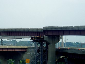 Interstate 787 - Northbound ramp that slipped off its supports, supported by temporary tower