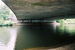 The17 - IMAGINE Graffiti in Derby made by Bill Drummond, photographed by John Hirst, 2008