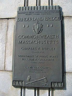 Sunderland Bridge (Massachusetts) - Dedication plaque