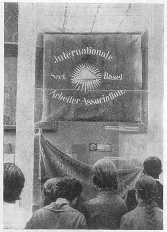 International Workingmen's Association - International Workingmen's Association Basel section banner (photo taken at now defunct Museum of Karl Marx and Frederick Engels in Moscow, Soviet Union