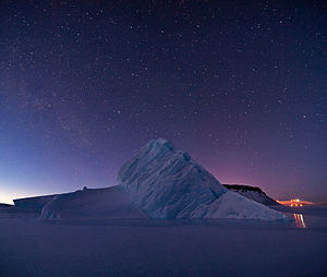 North Star Bay - An unnamed berg frozen in place by sea ice in North Star Bay.