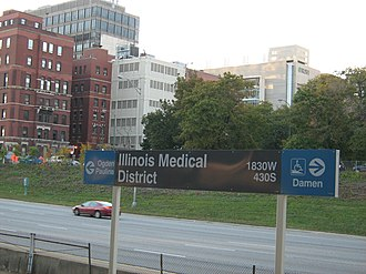 Illinois Medical District station - View of the eastbound Eisenhower Expressway from the station.