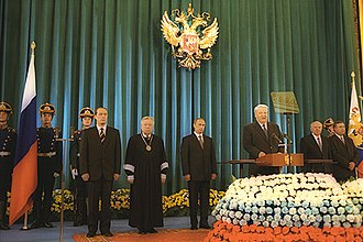 First inauguration of Vladimir Putin - Boris Yeltsin gives congratulatory speech.