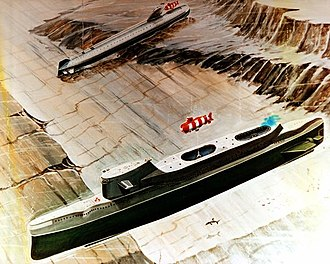 India-class submarine - Artist's concept of an India class submarine deploying a deep submergence rescue vehicle to assist a November class submarine