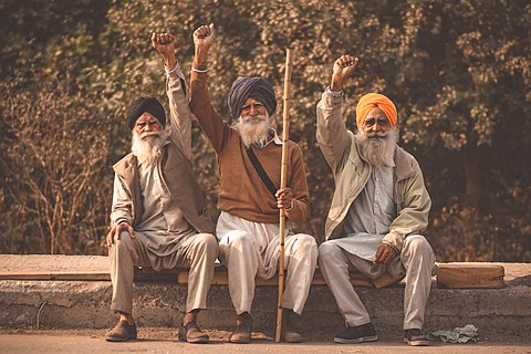 Three protestors at the 2020-2021 Indian Farmers' Protest