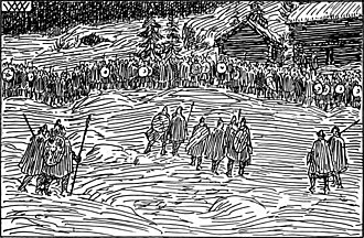 Guðrøðr Óláfsson - Nineteenth-century depiction of the forces of Ingi Haraldsson, King of Norway, at the Battle of Oslo in 1161.