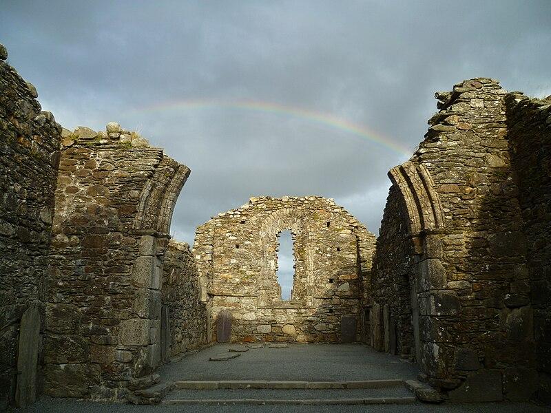 File:Inside the chapel with rainbow Glendalough.jpg
