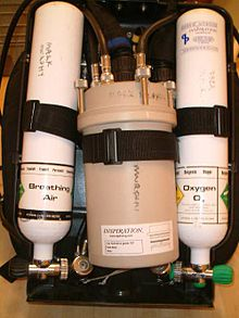 "Back view of an ""Inspiration"" rebreather with the cover removed, showing the scrubber unit in the middle, with a small cylinder on each side. The cylinder valves are at the bottom end of the unit for easier access while in use - the valve knobs protrude through the sides of the cover when closed, at the level of the diver's waist. The oxygen cylinder is on the right and has a green knob. The diluent cylinder has a black knob."