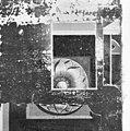 Interieur, detail van een stuk linnen behang, bevindt zich in de Mamuchetzaal - Baarn - 20027208 - RCE.jpg