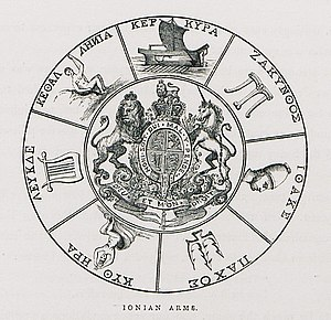 United States of the Ionian Islands - The British coat of arms surrounded by the emblems of the seven Ionian Islands. From top, clockwise: Corfu, Zakynthos, Ithaca, Paxoi, Cythera/Cerigo, Leucas, Cephalonia