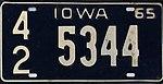 Iowa 1965 license plate - Number 42 5344.jpg