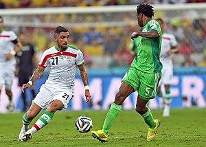 Ashkan Dejagah - Dejagah in match against Nigeria at 2014 World Cup.