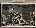 Ishmael is circumcised in a bustling chamber. Line engraving Wellcome V0034232.jpg