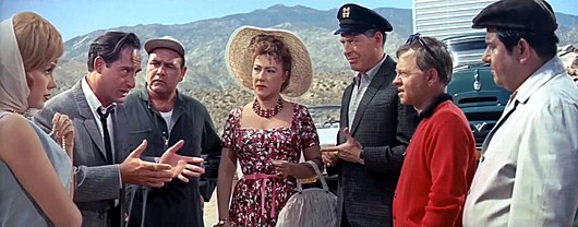 L-R: Dorothy Provine, Sid Caesar, Jonathan Winters, Ethel Merman, Milton Berle, Mickey Rooney and Buddy Hackett in It's a Mad, Mad, Mad, Mad World (1963) Its a Mad, Mad, Mad, Mad World Trailer4.jpg