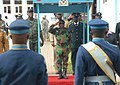 Ivory coast chief of defense staff Gen. Soumaila Bakayoko, center, returns a salute to members of the Kofi Annan International Peacekeeping Training Center honor guard June 26, 2013, in Accra, Ghana, as part 130626-A-ZZ999-017.jpg