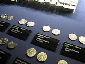 coins in a display case