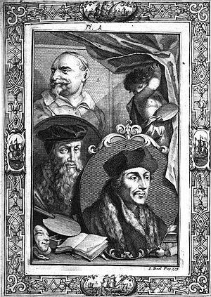 The Lives of Dutch painters and paintresses - Image: JC Weyerman VI Plate A Johan Snellinx David Jorisz Erasmus
