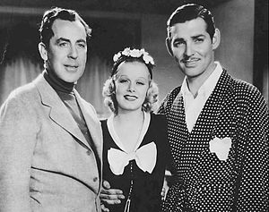 Saratoga (film) - This photo of director Jack Conway, Jean Harlow and Clark Gable was taken only minutes before Harlow's collapse and was issued at the time her death was announced.