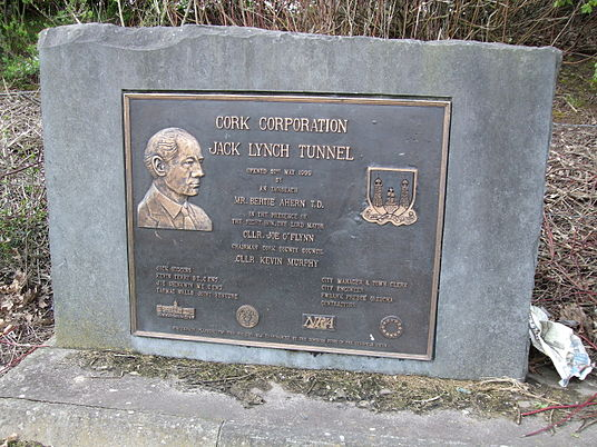The commemorative plaque for the Jack Lynch Tunnel. Jack Lynch Tunnel plaque.JPG