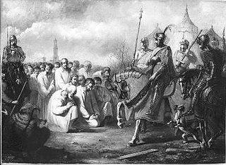 Anno 1345. Vierhonderd burgers van Utrecht smeken graaf Willem IV van Holland om vrede