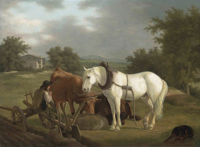 File:Jacques Laurent Agasse - A rural landscape with a ploughman resting with his grey horse, cattle and dog.jpg