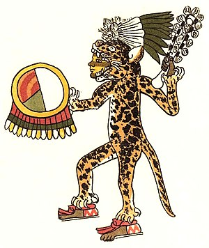 Jaguars in Mesoamerican cultures - Aztec jaguar warrior, from the Codex Magliabechiano