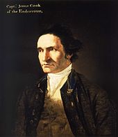 "Severe-looking man, clean-shaven and with a high forehead, wearing an open coat, white shirt and embroidered waistcoat. A legend in the top left corner identifies him as ""Capt. James Cook of the Endeavour""."