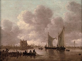 Smalschips' on the Kil near the Oude Wachthuis with fishermen raising a net off a jetty, the Grote Kerk at Dordrecht beyond