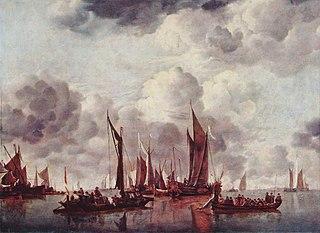 A Shipping Scene with a Dutch Yacht firing a Salute