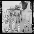 Japanese envoys leave the USS Missouri (BB-63) in Tokyo Bay, Japan, after signing surrender papers. - NARA - 520922.tif