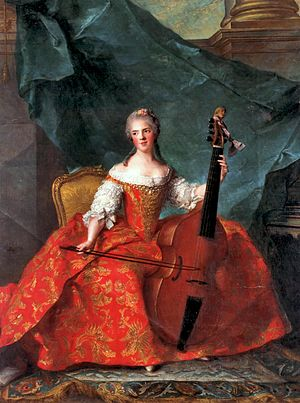 1750–75 in Western fashion - Princess Henriette of France in court dress playing the viola de gamba, c. 1750–52, by Jean-Marc Nattier