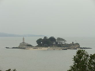 Kinmen - Jiangong Islet, with a Koxinga monument, in Kinmen Harbor