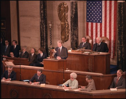 Jimmy Carter, 39th President of the United States (1977-1981), delivering the State of the Union Address in 1979 Jimmy Carter presents his State of the Union Speech to Congress. - NARA - 183085.tif