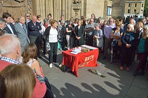 Jo Cox - A vigil for Cox held in remembrance outside Bath Abbey, one of the many held around Britain, 18 June 2016