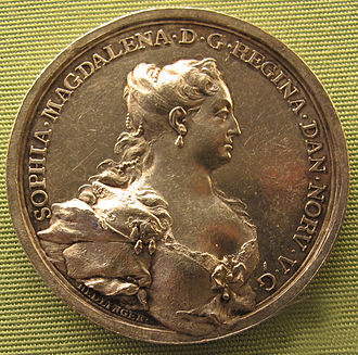 Sophie Magdalene of Brandenburg-Kulmbach - Coin by Johann Karl von Hedlinger with portrait of Sophie Magdalene.